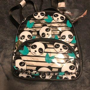 "NWT•Betsy Johnson Mini clear Panda ""Sage"" backpack"